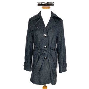 Via Spiga Charcoal Belted Wool Blend Trench Coat 6